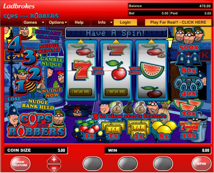 Cops And Robbers video slot game screenshot