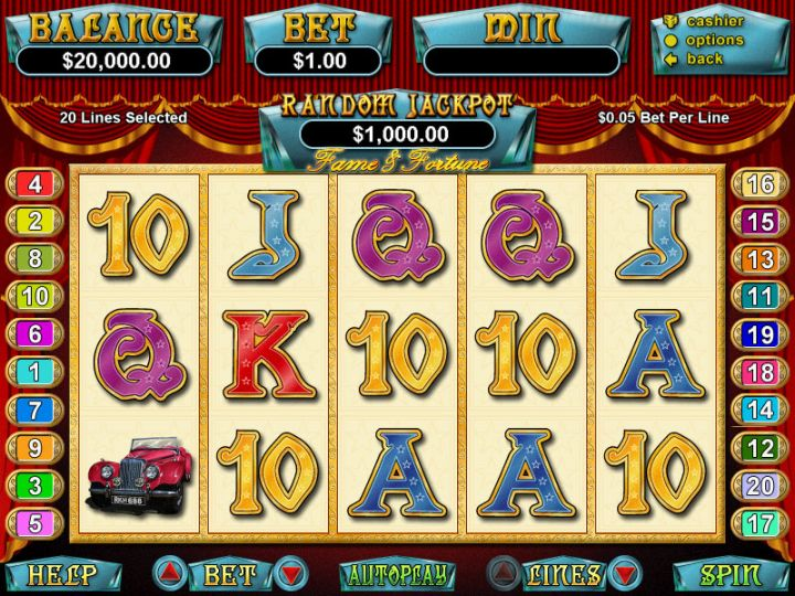 Fame and Fortune video slot game screenshot