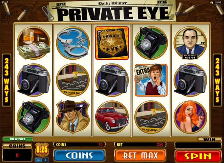 Private Eye slot game screenshot
